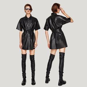 Zara Faux Leather Shirt Dress